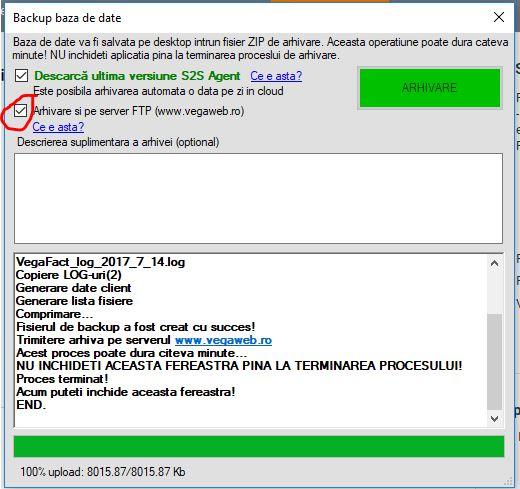 salvarea bazei de date pe server client